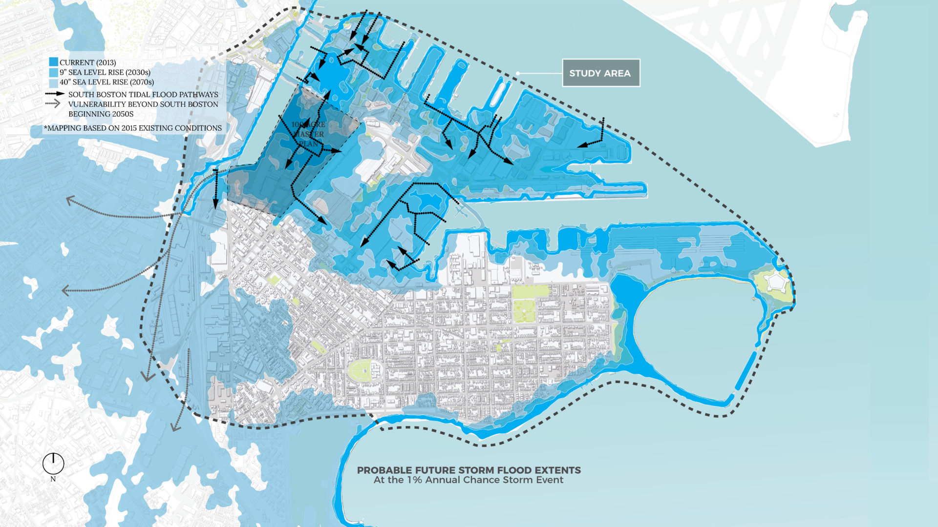 In 50 years, sea-level rise could put almost all of the Seaport District at risk of storm surge flooding. Photo courtesy of Boston Mayor's Office of Environment, Energy, and Open Space.