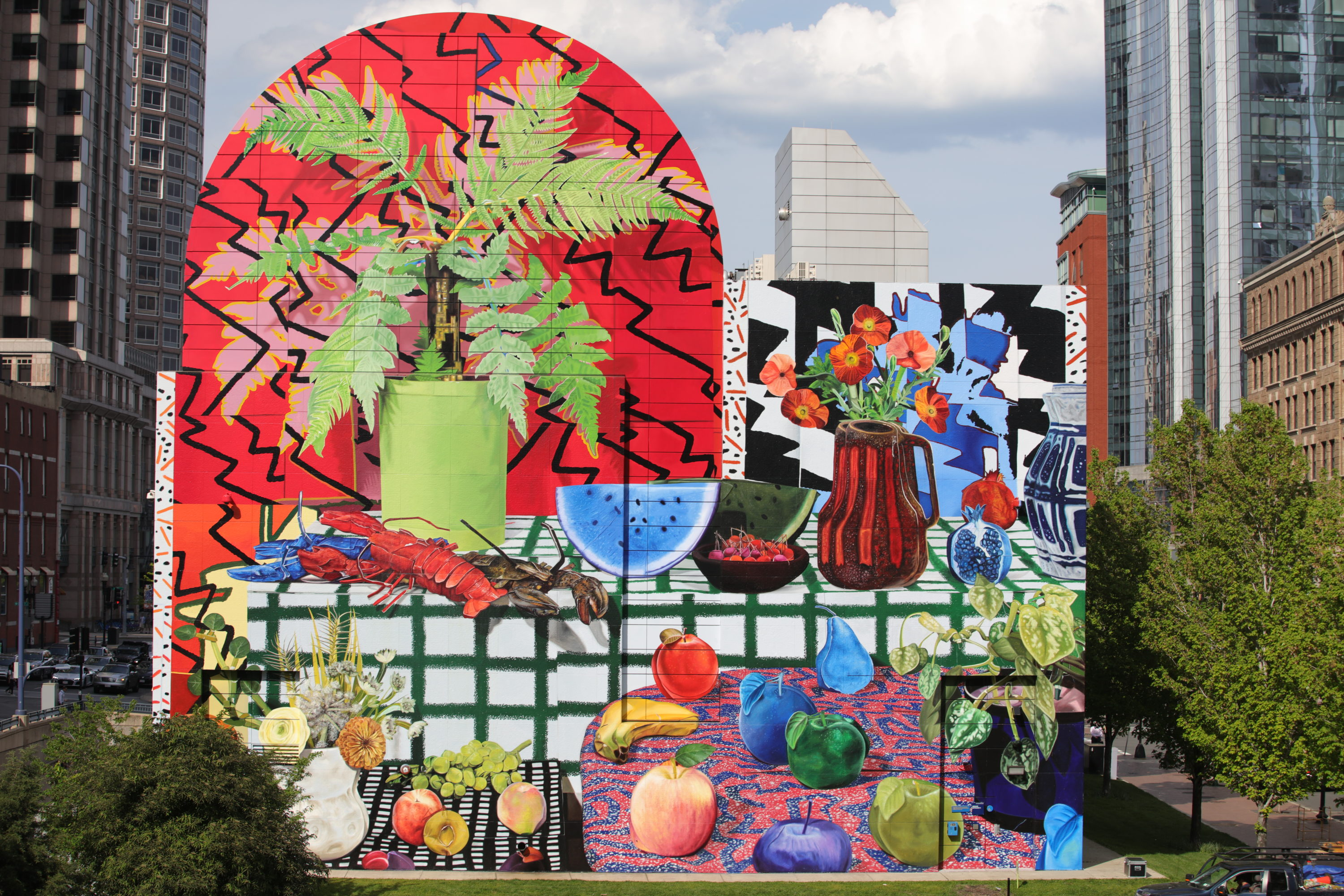 """Daniel Gordon's new mural """"Summer Still Life with Lobsters and Fern"""" brings vibrancy to Dewey Square along the Greenway. (Courtesy Haybe Todd)"""