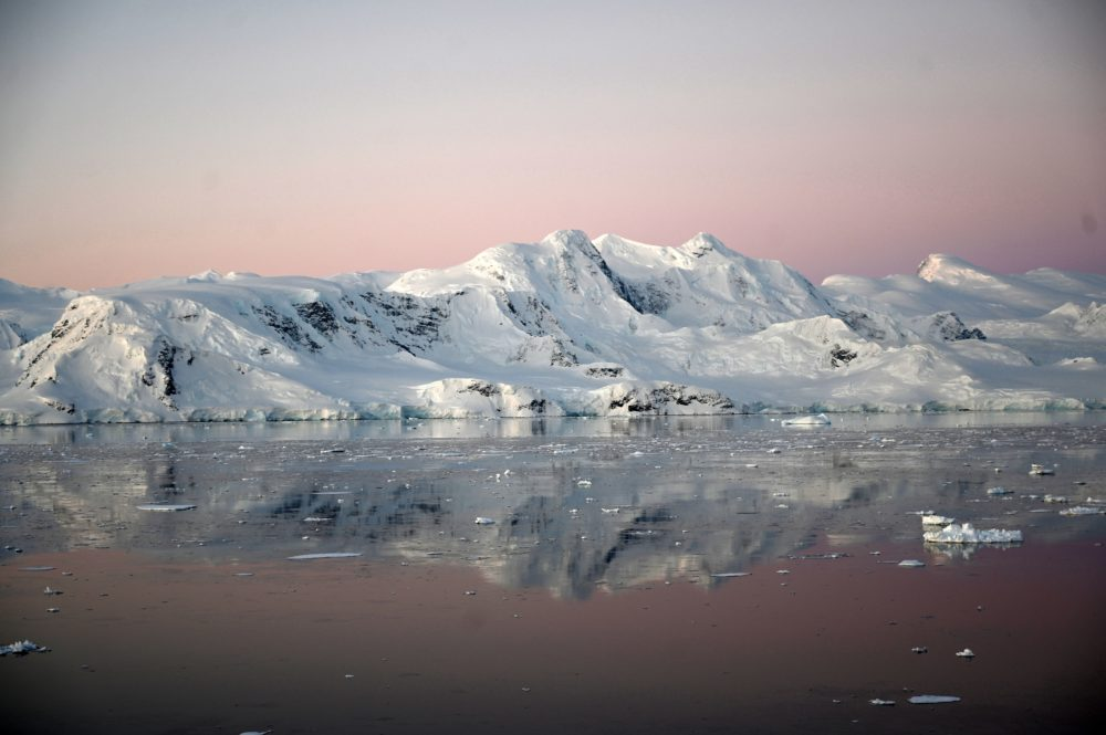 View of a glacier at sunset at Chiriguano Bay in South Shetland Islands, Antarctica on Nov. 07, 2019. (Johan Ordonez/AFP via Getty Images)