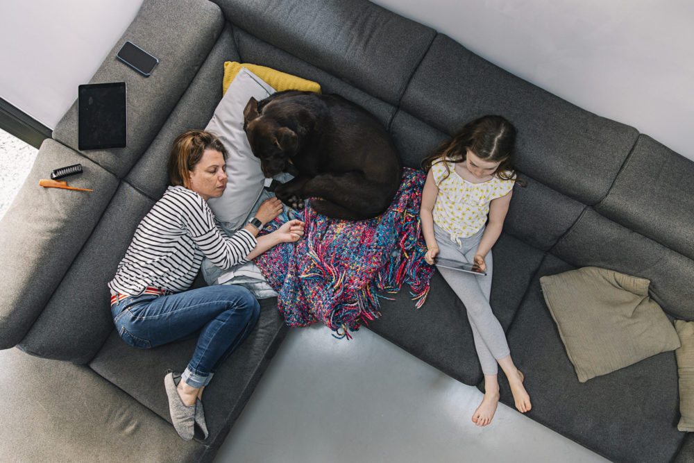 Overhead view of woman, her daughter and pet dog on the sofa. (Getty)