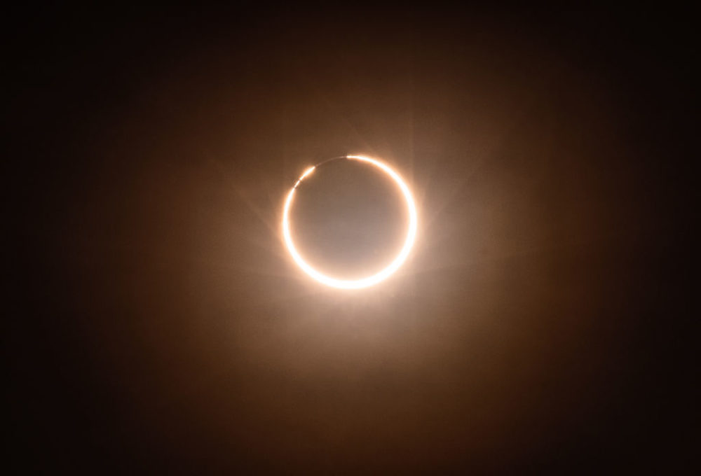 An annular eclipse of the sun, photographed on the rooftop of a hotel in Xiamen City, China, on June 21, 2020. (Costfoto/Barcroft Media via Getty Images)