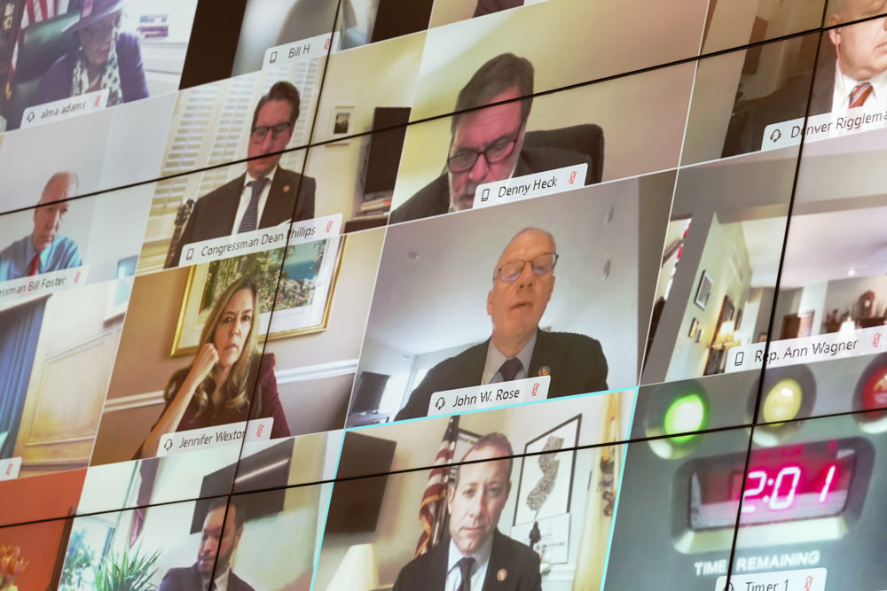 Members of the House Financial Services Committee are seen via videoconference during a House Financial Services Committee oversight hearing. (Getty Images)