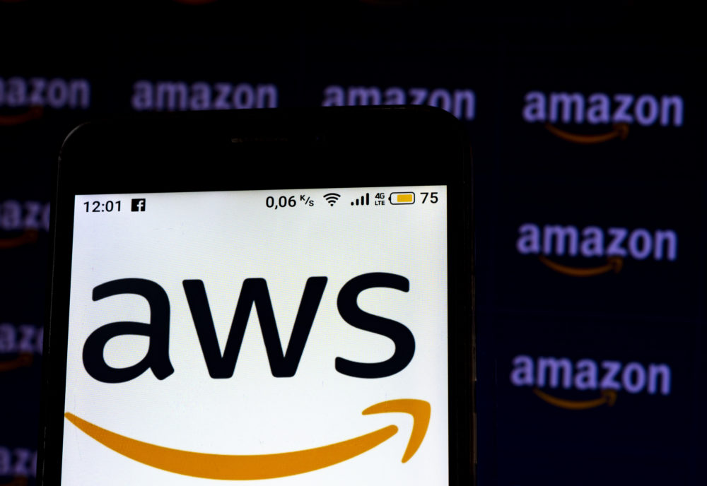 An Amazon Web Services logo seen displayed on a smartphone screen. (Igor Golovniov/SOPA Images/LightRocket via Getty Images)