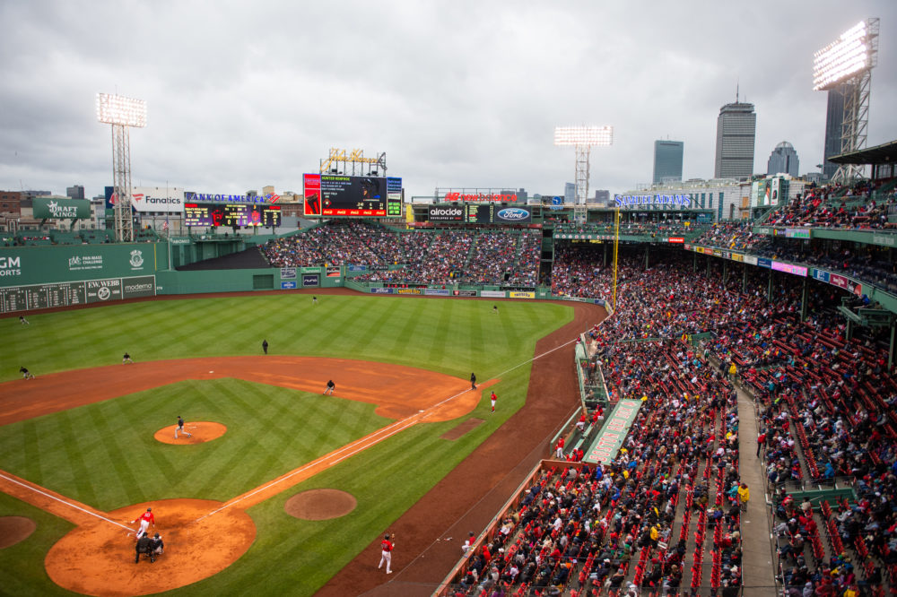 For the first time since 2019, Fenway Park is open for full capacity and optional masking for the game between the Miami Marlins and the Boston Red Sox on May 29, 2021 in Boston, Massachusetts. (Kathryn Riley/Getty Images)