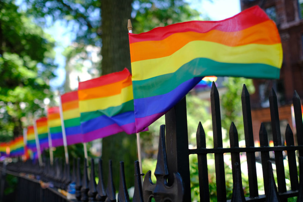 Pride flags decorate Christopher Park on June 22, 2020 in New York City. (Dimitrios Kambouris/Getty Images)