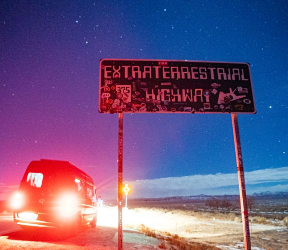 A converted Sprinter campervan is seen next to the Extraterrestrial Highway sign at the junction of state Routes 138 and 375 on January 23, 2021 in Lincoln County, Nevada. (Josh Brasted/Getty Images)