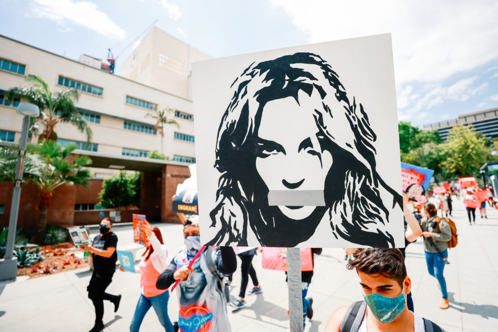 #FreeBritney activists protest outside Courthouse in Los Angeles. (Matt Winkelmeyer/Getty Images)