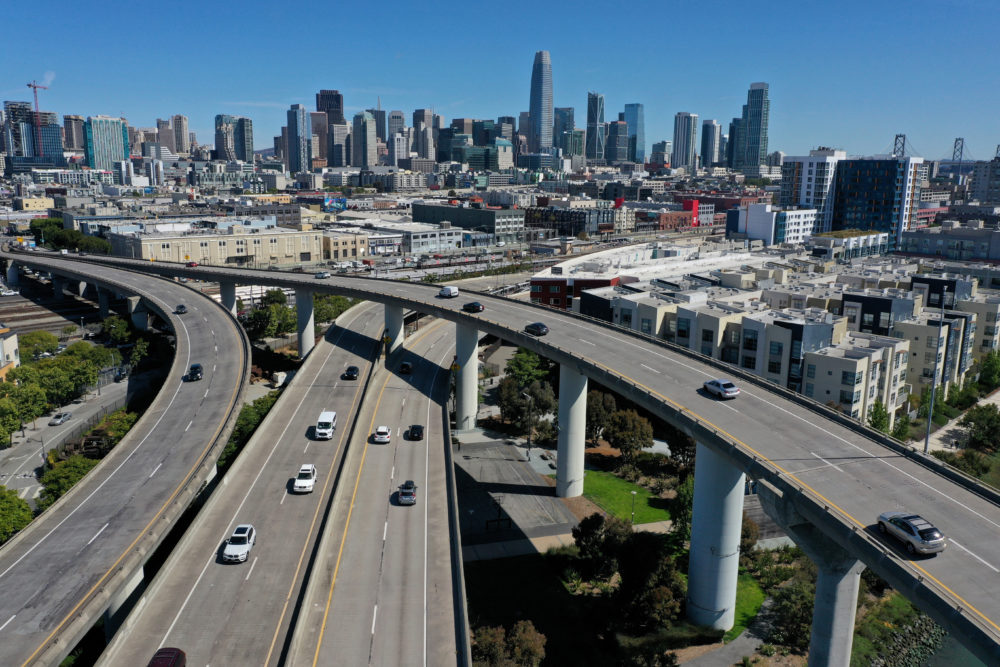 In an aerial view, cars drive along Interstate 280 on June 11, 2021 in San Francisco, California. (Justin Sullivan/Getty Images)
