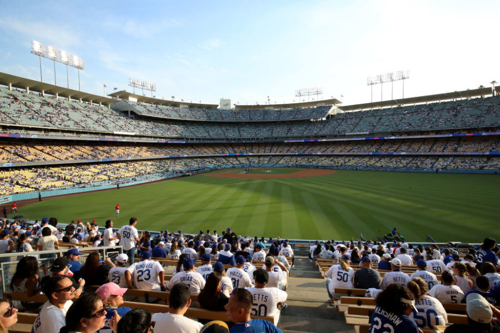 A view of the field before the game between the Los Angeles Dodgers and the Philadelphia Phillies at Dodger Stadium on June 16, 2021 in Los Angeles, California. (Katelyn Mulcahy/Getty Images)