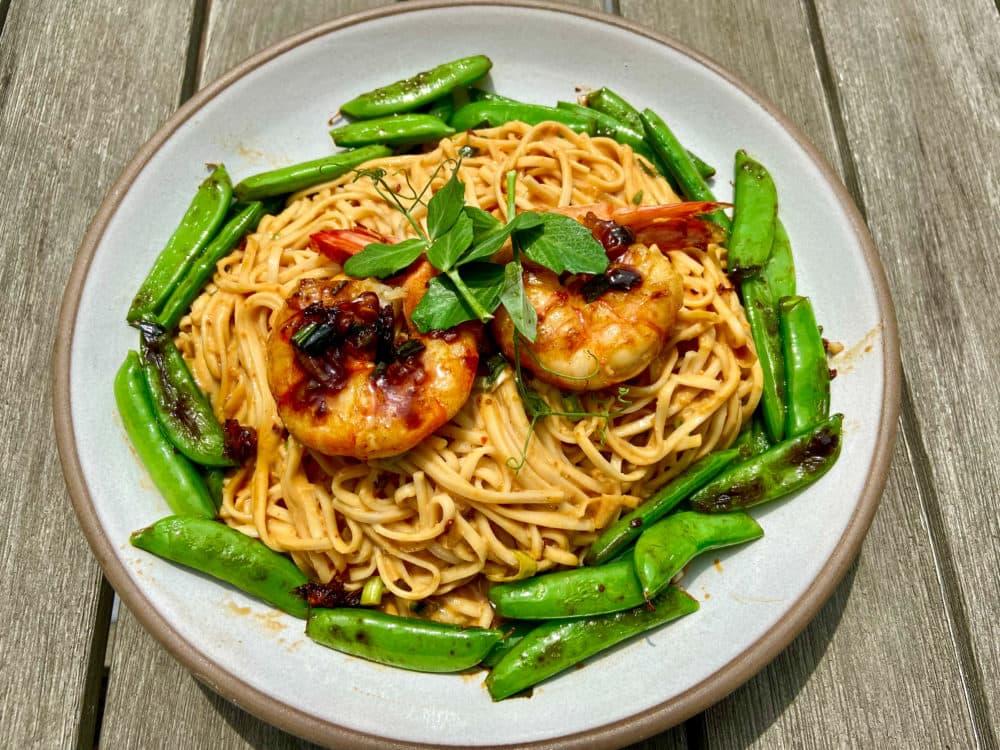 Cold sesame noodles with sautéed snap peas and shrimp (Kathy Gunst)