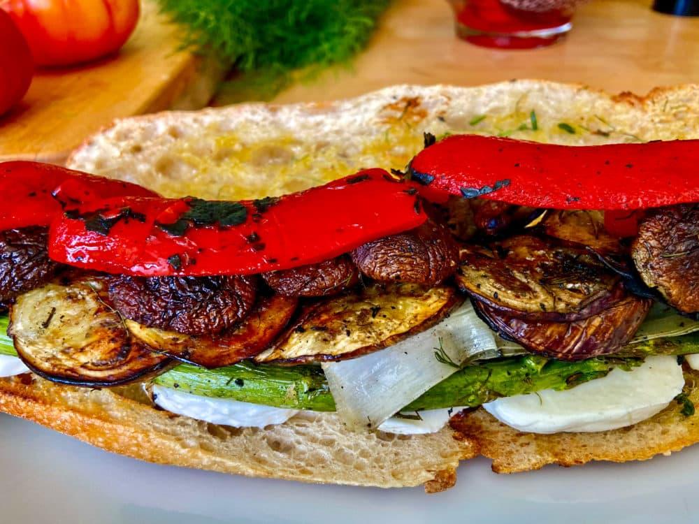 Grilled vegetable and mozzarella sandwiches (Kathy Gunst)