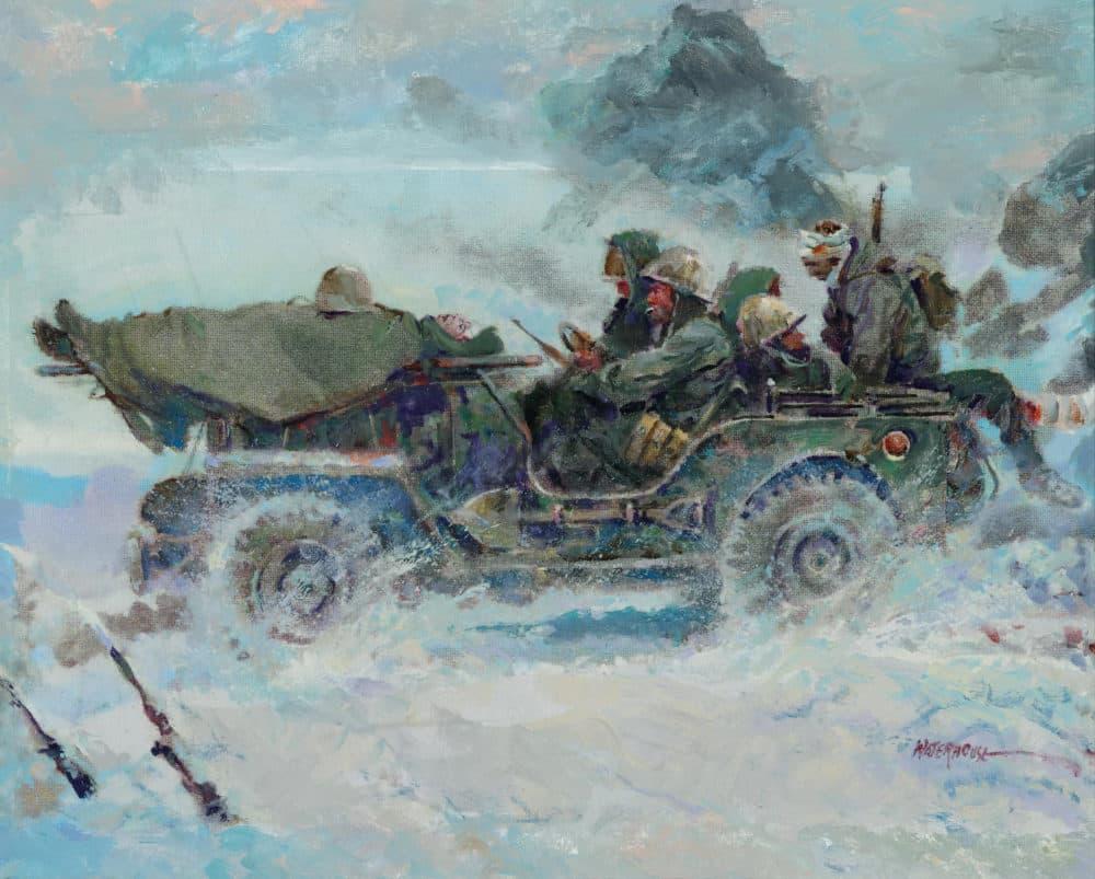 """Guerre de Corée.  De """"La valeur en action."""" Peinture de Charles Waterhouse.  (Courtoisie)"""
