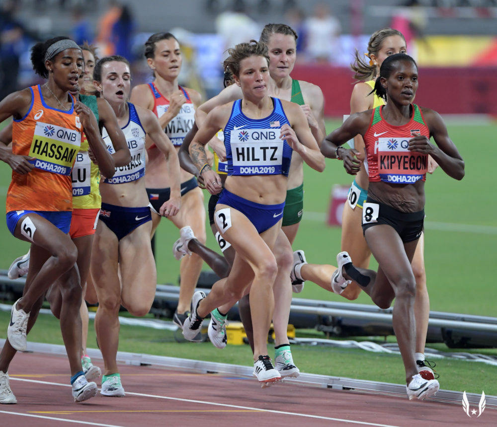 Nikki Hiltz in competition at the 2019 World Athletics Championships (USATF)