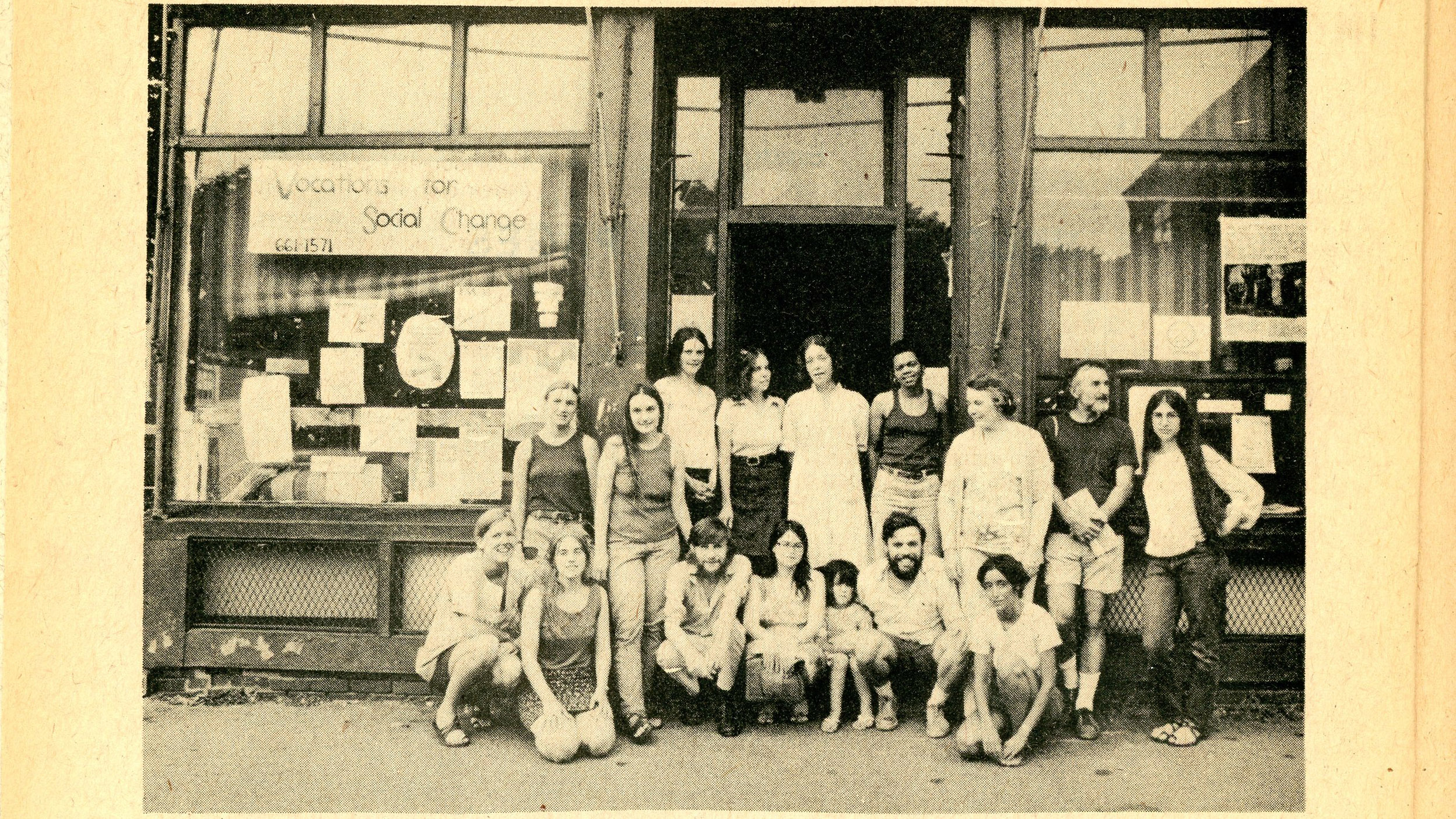 A photo from the 1976 edition of the People's Yellow Pages shows the publication's volunteers assembled before the Vocations for Social Change office in Cambridge. (Courtesy Shelley Rotner)