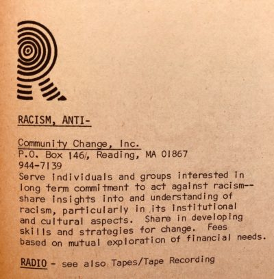 A list of an anti-racist organization in the 1973 edition of the People's Yellow Pages.  (Courtesy of Brian Coleman)