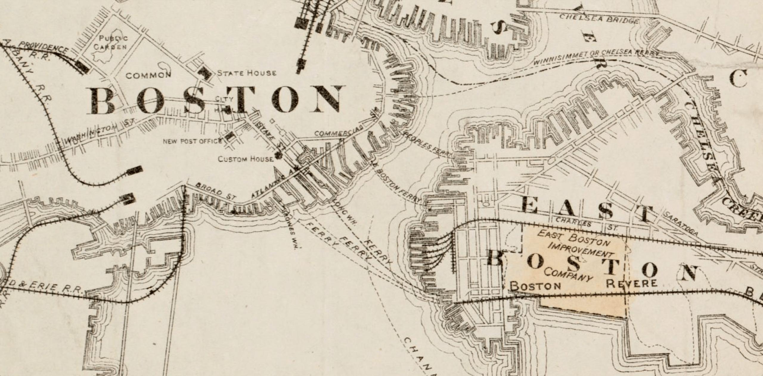 """Las líneas de ferry están indicadas en el mapa del """"Plan de propiedad de Boston Land Co. y sus alrededores"""", que se cree que se trazó entre 1880 y 1889. (Cortesía de la Biblioteca Pública de Boston, Norman B. Leventhal Map Center)"""