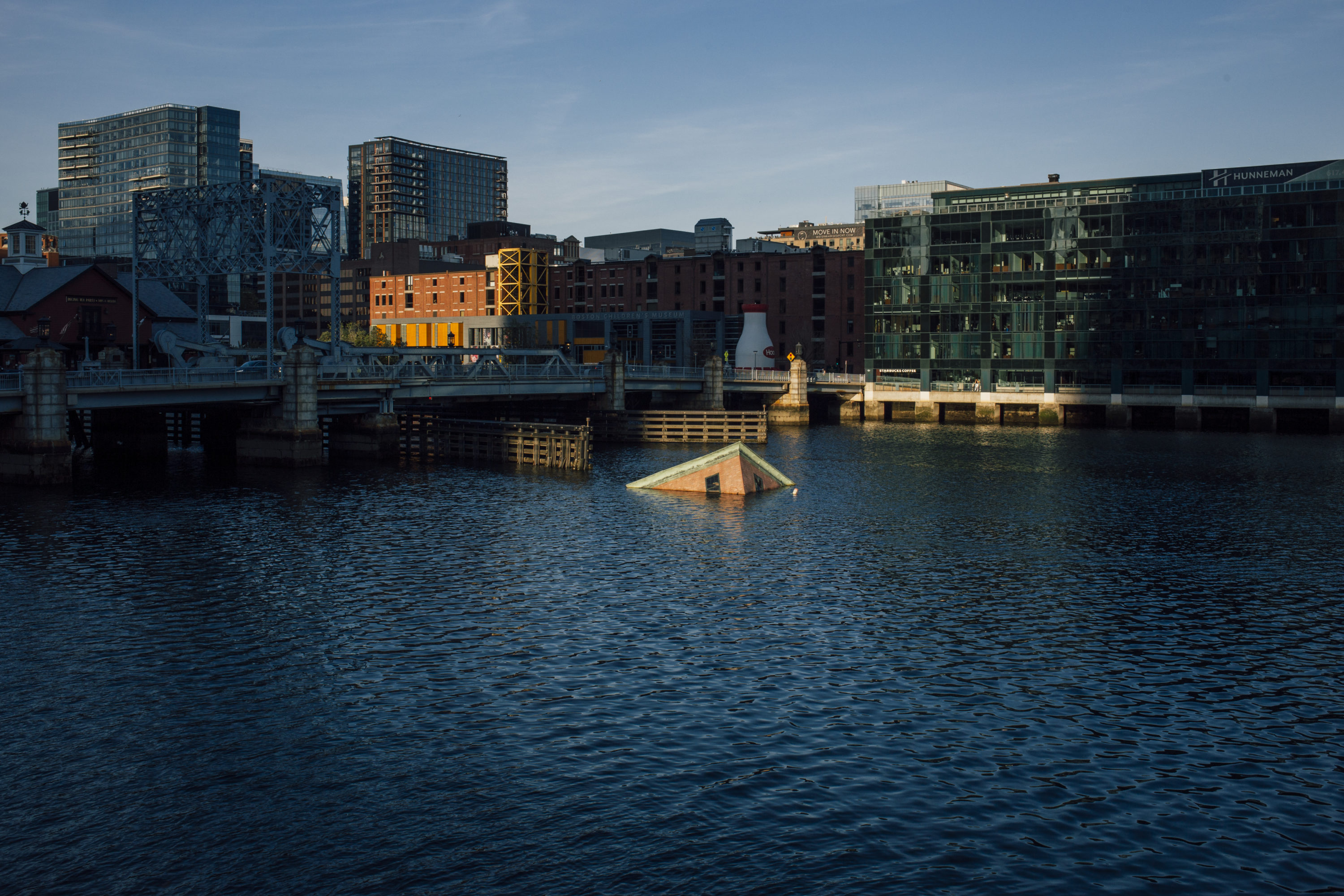 """Zy Baer's """"Polarity"""" installation imagines how the Fort Point and Seaport neighborhoods could look if nothing is done to reverse the effects of climate change. (Courtesy Fort Point Arts Commission)"""