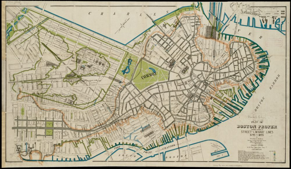 """Charles C. Perkins, """"Boston for 100 years."""" (Courtesy Leventhal Map & Education Center)"""