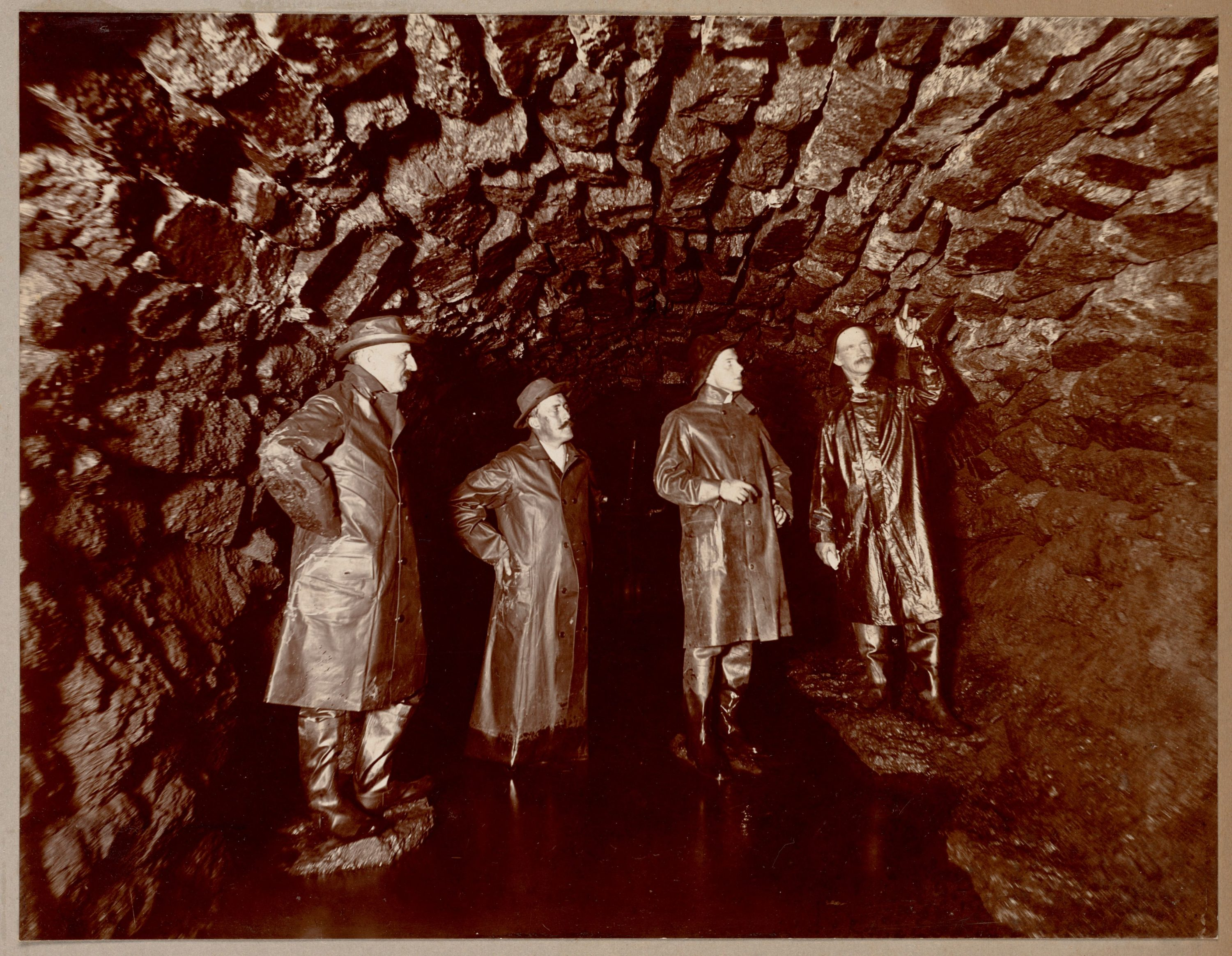 In a photo from the 1880s, men inspect sewer construction in Boston. (Courtesy Boston Public Library)