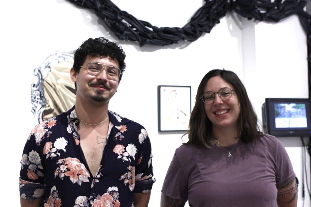 """some assembly required"" curators Jasper A. Sanchez and Ena Kantardžić. (Jenn Stanley for WBUR)"