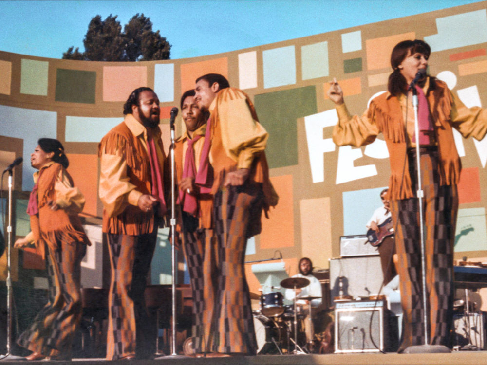 """The 5th Dimension performing at the Harlem Cultural Festival in 1969, featured in """"Summer of Soul."""" (Photo courtesy of Searchlight Pictures. © 2021 20th Century Studios)"""