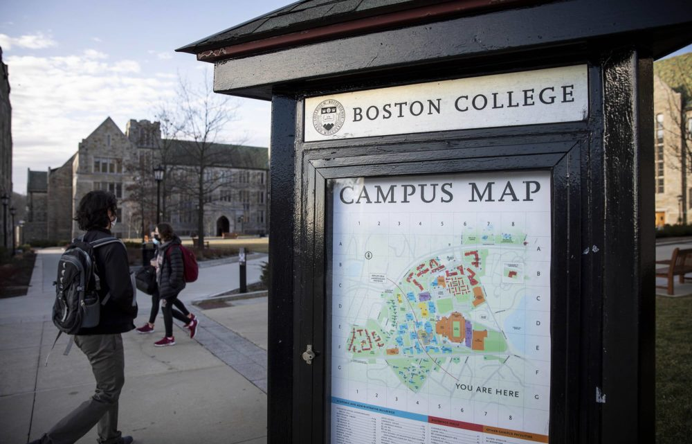 A Boston College campus map by Gasson Hall. (Robin Lubbock/WBUR)