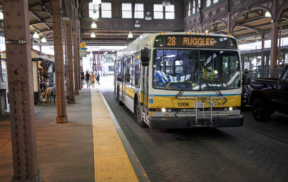 A 28 bus to Ruggles drives through the Nubian Square bus station. (Robin Lubbock/WBUR)
