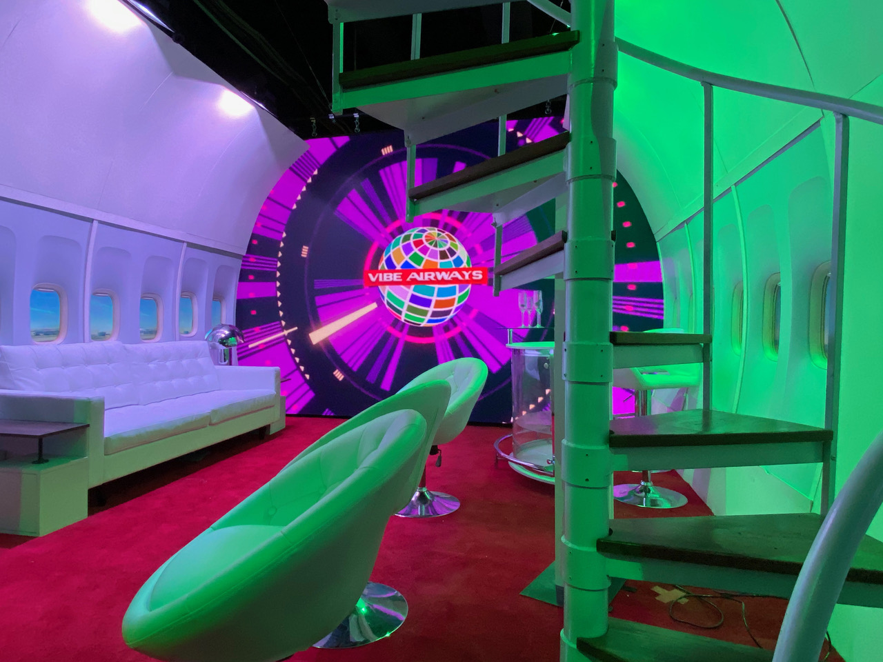 """""""Vibe Airways,"""" one of 13 themed rooms in the art installation """"Go Pixel Yourself."""" (Courtesy John Carter)"""