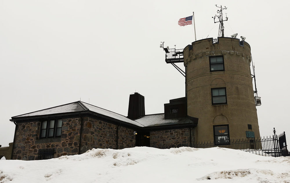 The Blue Hill Observatory, pictured in March 2015. Planned renovations include a new concrete wall, weatherproofing, new ceilings, new windows and asbestos removal. (Simón Rios/WBUR)