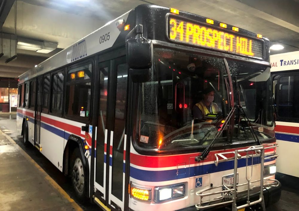 A 34 bus at the Buckley Transportation Center in Lawrence. (Bruce Gellerman/WBUR)