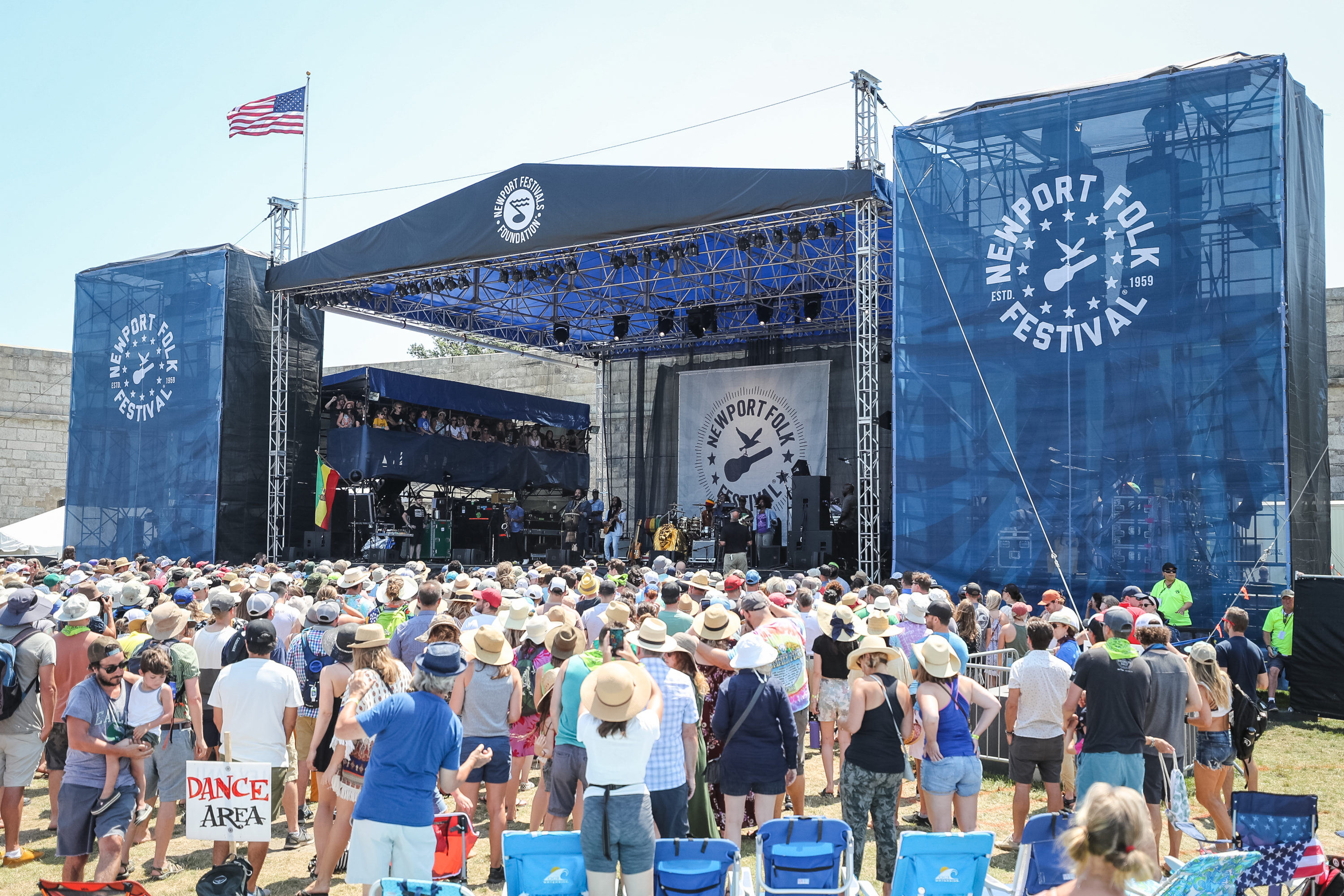 The main stage and crowd at the 60th annual Newport Folk Festival at Fort Adams State Park on July 28, 2019 in Newport, Rhode Island. (Photo by Douglas Mason/WireImage)
