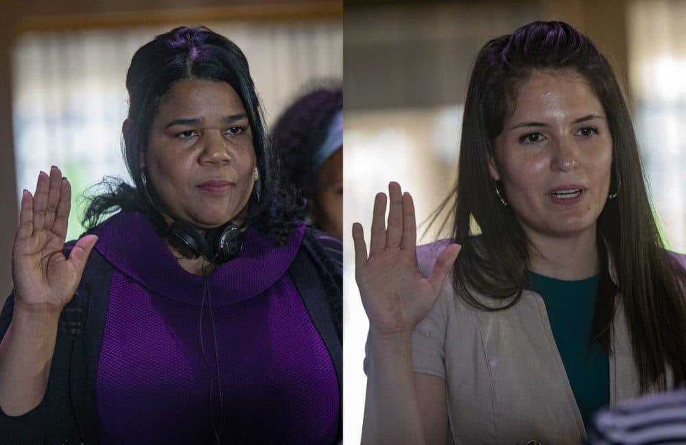 The swearing in two new members to the Boston School Committee Rafaela Polanco Garcia and Lorena Lopera at City Hall. (Jesse Costa/WBUR)