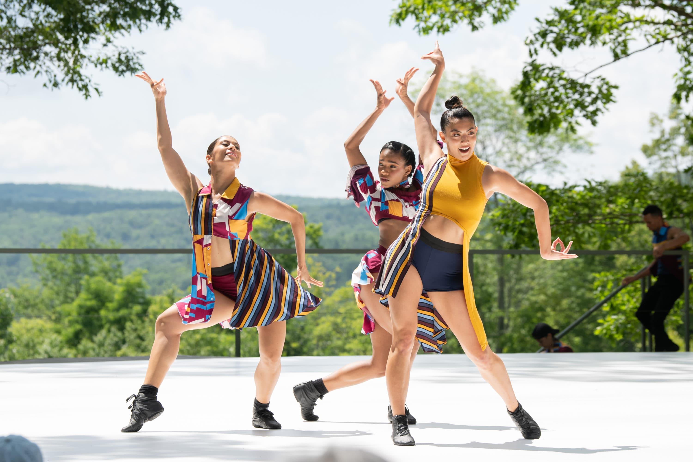 "Simone Cameresi, Dandara Veiga and Shelby Colona of Ballet Hispánico in ""Tiburones"" at Jacob's Pillow Dance Festival. (Courtesy Christopher Duggan)"