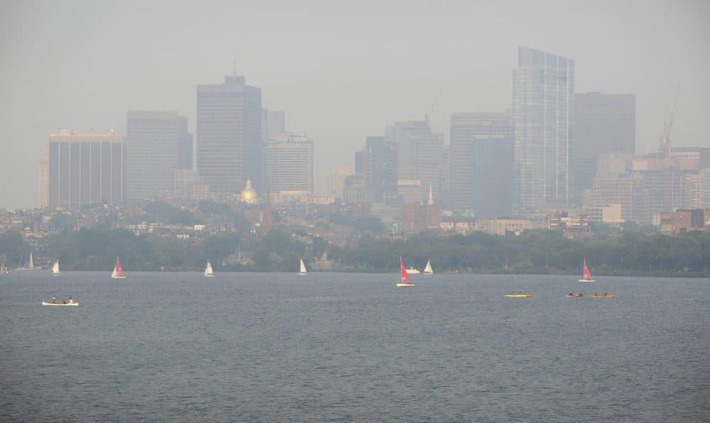 Boston seen through a smoky haze on Monday evening. (Robin Lubbock/WBUR)