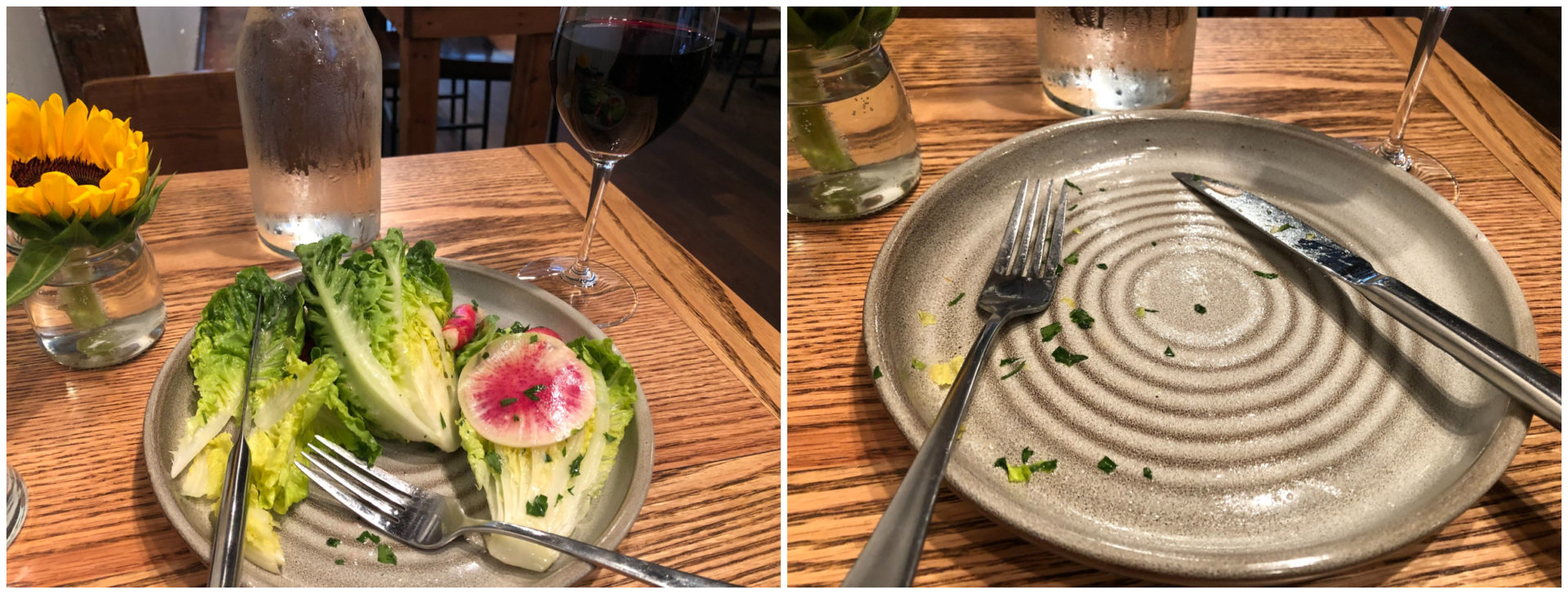 Radish and pearl salad at Mission in Pittsfield.  (Ed Siegel for WBUR)