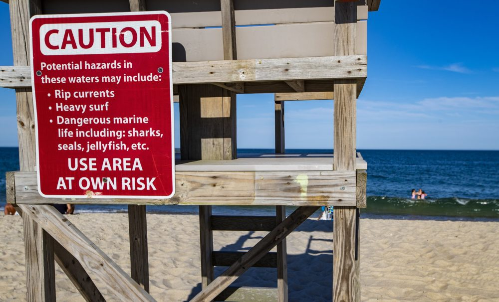 A sign on a lifeguard station warns visitors of the potential dangers associated with being in the water at Nauset Beach in Orleans. (Jesse Costa/WBUR)
