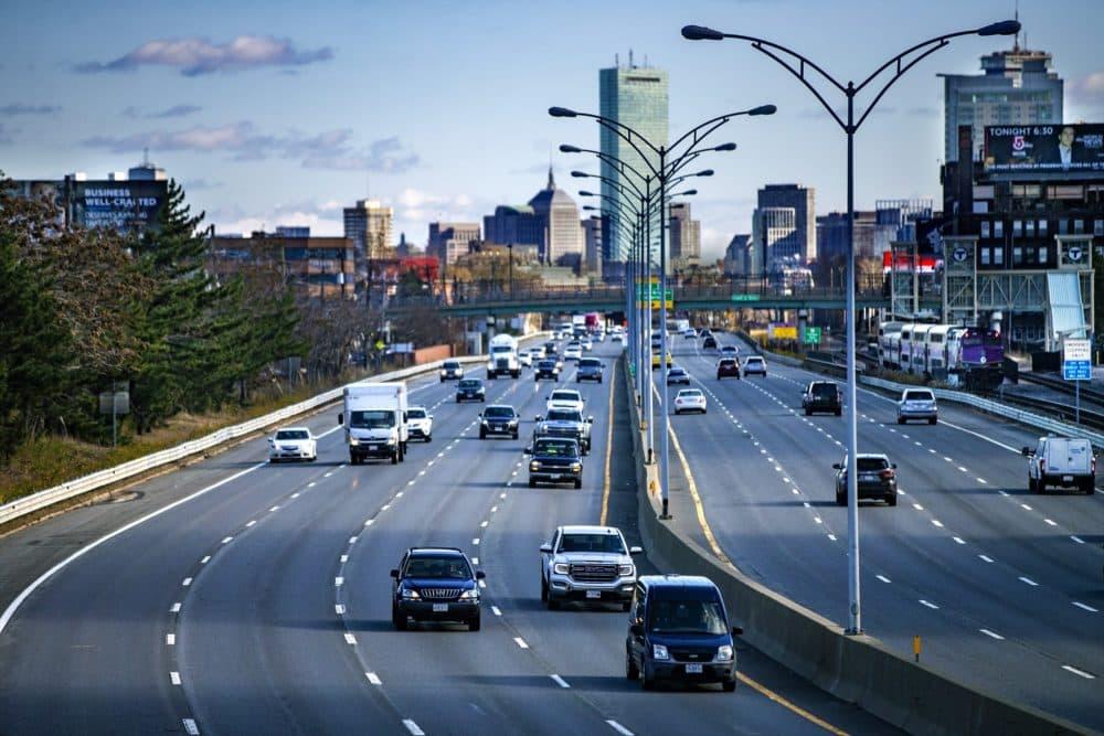 Vehicle traffic leaving Boston on the Massachusetts Turnpike. (Jesse Costa/WBUR)