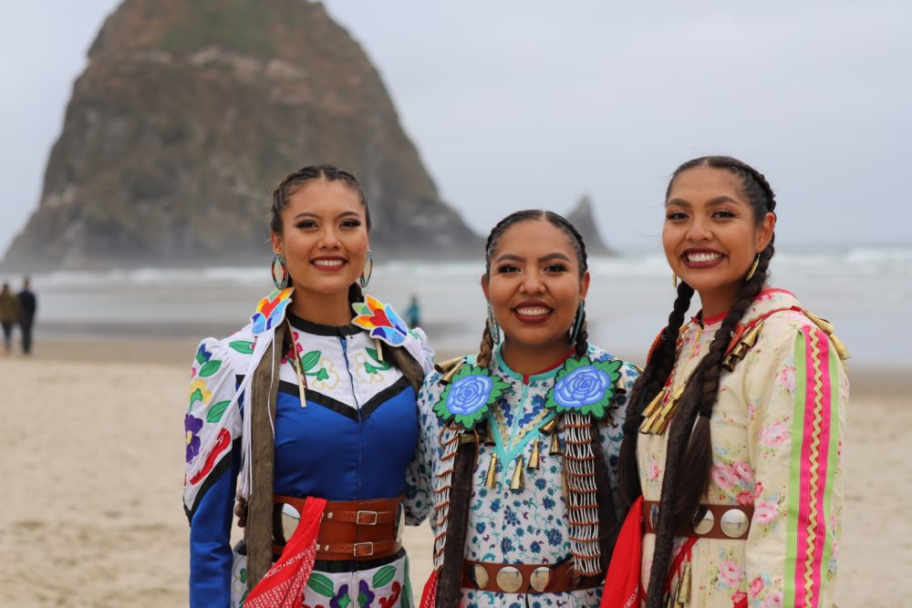 From left to right: Sunni Begay, Erin Tapahe, and Dion Tapahe are traveling the country as part of the Jingle Dress Project. (Margaret Bull)