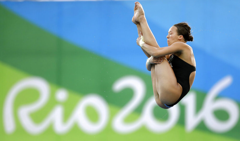 Jessica Parratto competes during the women's 10-meter platform diving final at the 2016 Summer Olympics in Rio in 2016. (Michael Sohn/AP)
