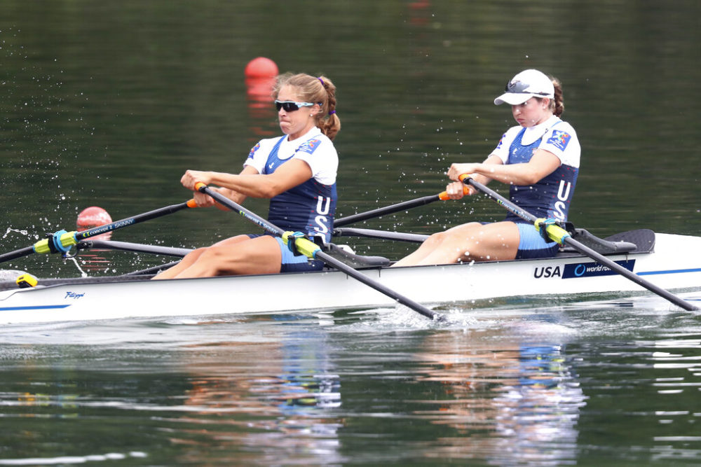 Cicely Madden, right, and Gevvie Stone compete in a Women's Double Sculls semifinal at the World Rowing Championships in Ottensheim, Austria in 2019. (Matthias Schrader/AP)