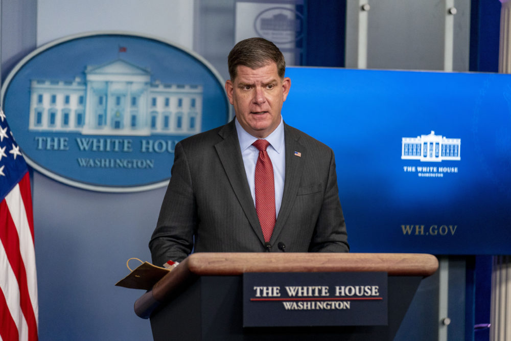 Labor Secretary Marty Walsh speaks at a press briefing at the White House on April 2, 2021, in Washington, D.C. (Andrew Harnik/AP)