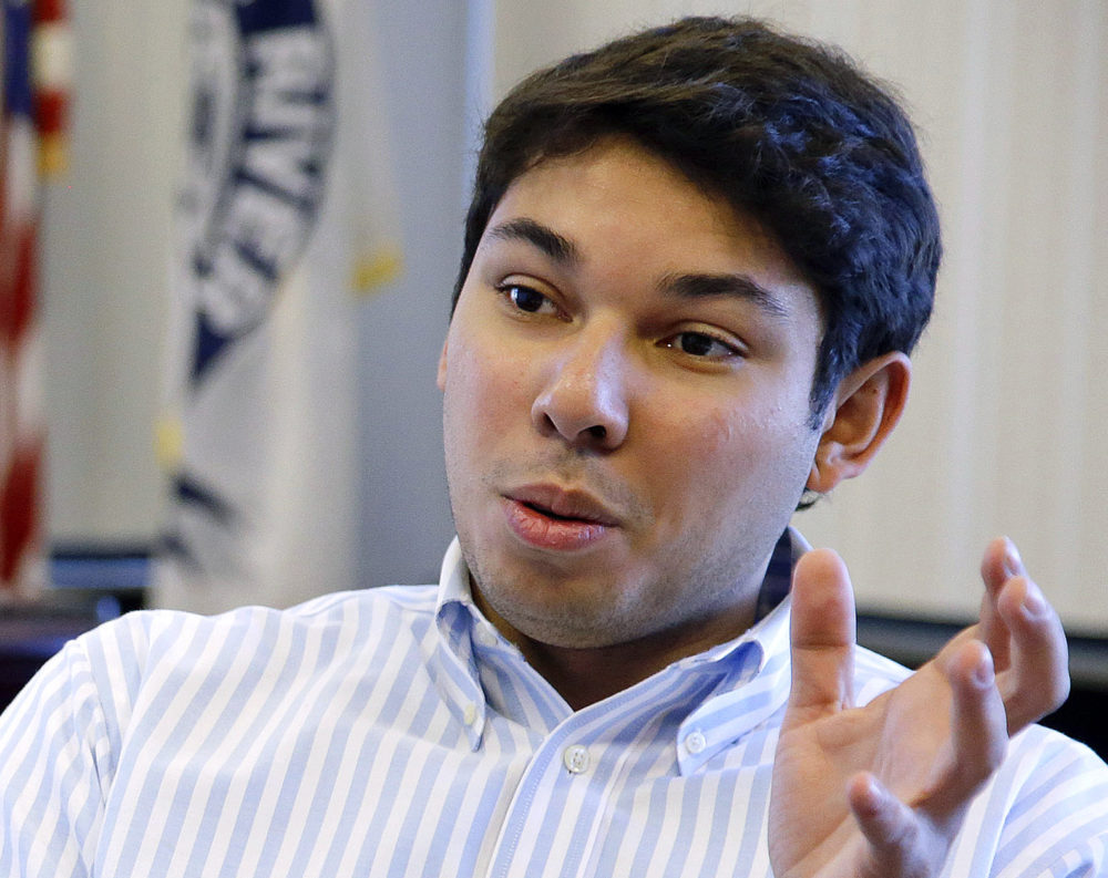 In this Jan. 6, 2016, file photo, Fall River Mayor Jasiel Correia talks in his city hall office in Fall River, Mass.(Stephan Savoia/AP File)