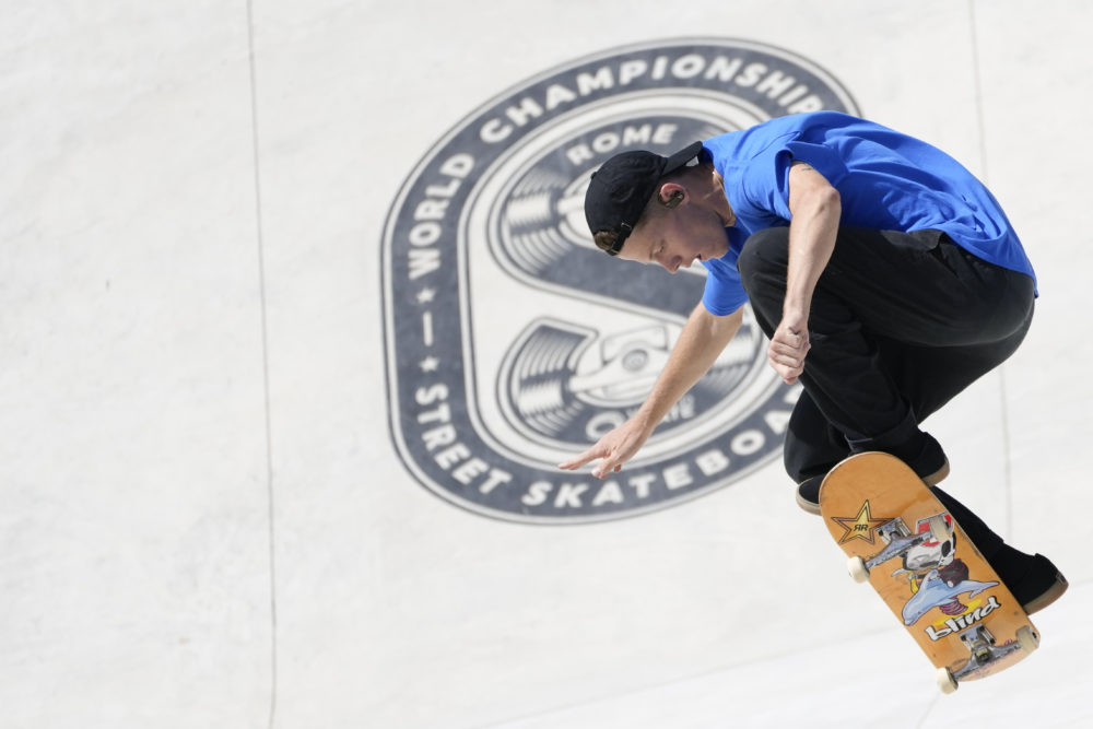 Jake Ilardi of the United States competes in the Street Skateboarding World Championships finals, a qualifying event for Tokyo Olympic Games, in Rome on June 6, 2021. (Alessandra Tarantino/AP)