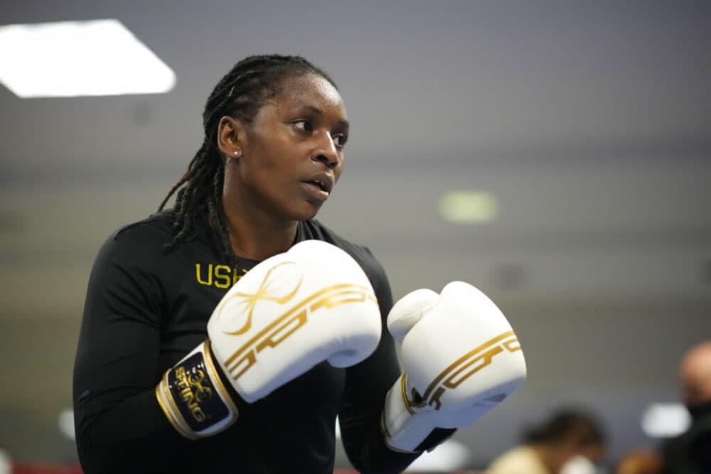 USA Boxing team member Rashida Ellis takes part in drills during a media day for the team on June 7, 2021, in Colorado Springs. (David Zalubowski/AP)