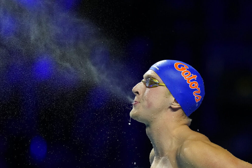 Kieran Smith gets ready to compete in the men's 200-meter freestyle final at the U.S. Olympic Swim Trials on June 15, 2021, in Omaha, Nebraska. (Charlie Neibergall/AP)