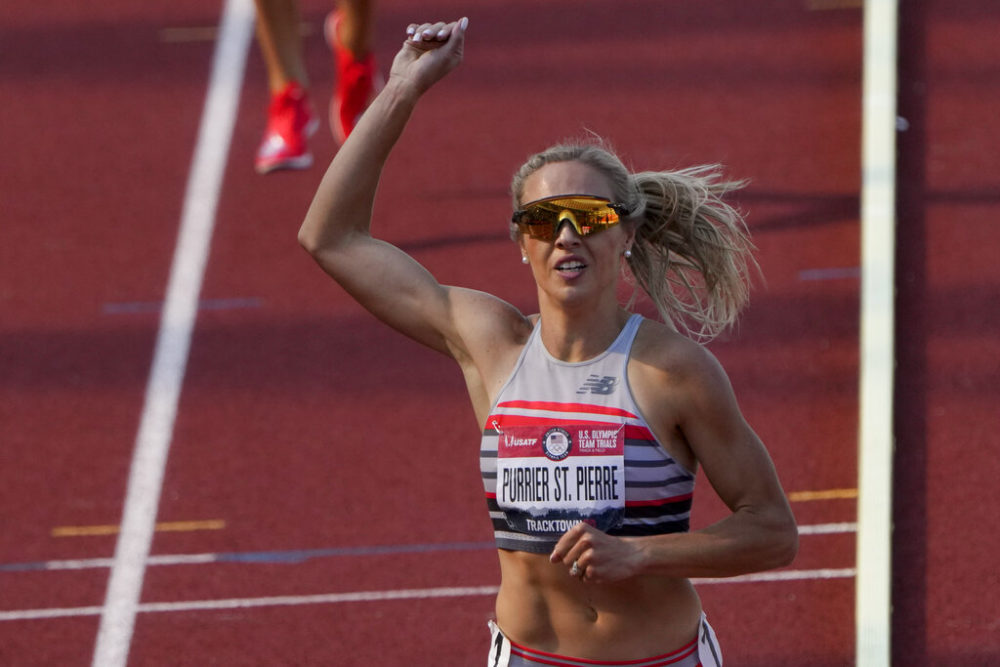 Elle Purrier St. Pierre celebrates after winning the women's 1,500-meter run at the U.S. Olympic Track and Field Trials on June 21, 2021, in Eugene, Oregon. (Chris Carlson/AP)