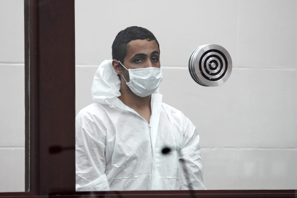 Khaled Awad is arraigned on charges of stabbing a rabbi near a Jewish day school, in Brighton District Court in Boston, Friday July 2, 2021.  (Mary Schwalm/Boston Herald via AP)