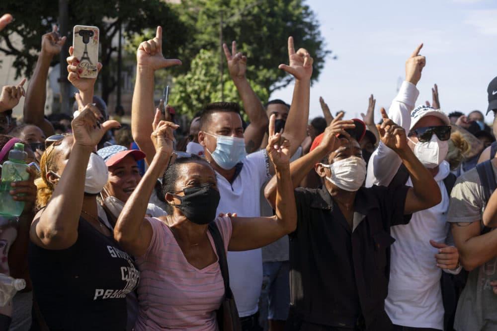 Anti-government protesters march in Havana, Cuba. (Eliana Aponte/AP Photo)