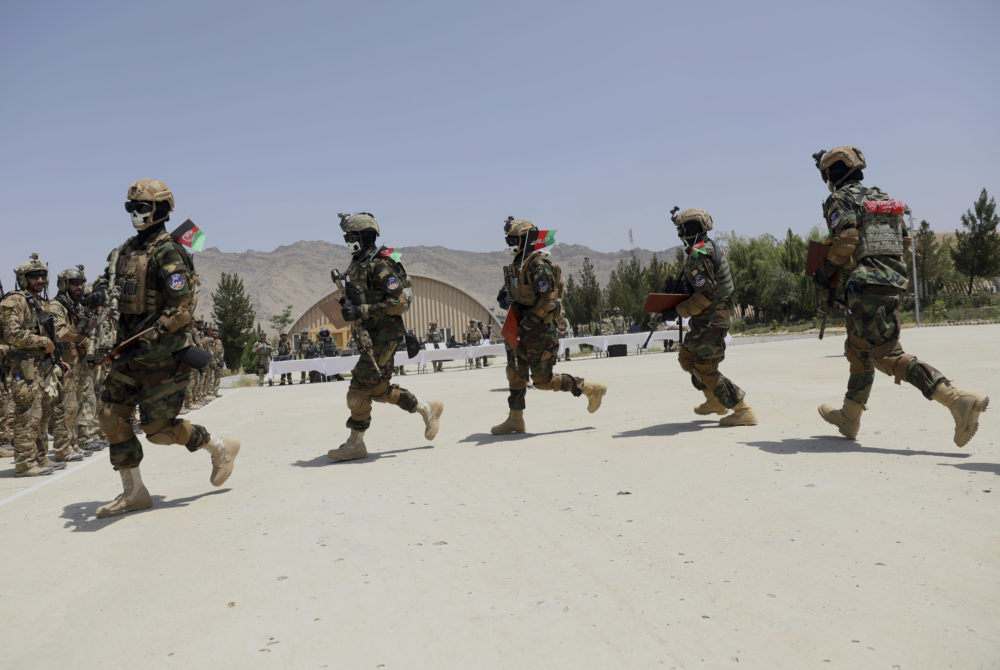 Newly Afghan Army Special forces march during their graduation ceremony after a three-month training program at the Kabul Military Training Centre (KMTC) in Kabul, Afghanistan, on July 17, 2021. (Rahmat Gul/AP)