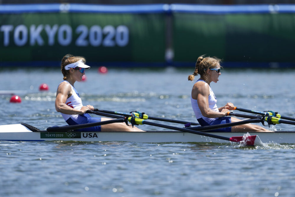 Rowers Gevvie Stone, of Newton, and Kristi Wagner, of Weston, compete in the women's double sculls semifinal at the 2020 Summer Olympics, Sunday, July 25, 2021, in Tokyo, Japan. (AP Photo/Darron Cummings)